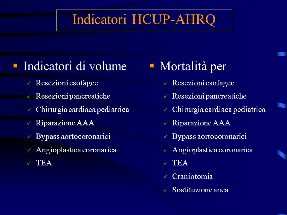 Indicatori HCUP-AHRQ Indicatori di volume Mortalità per