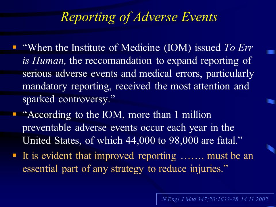 Reporting of Adverse Events