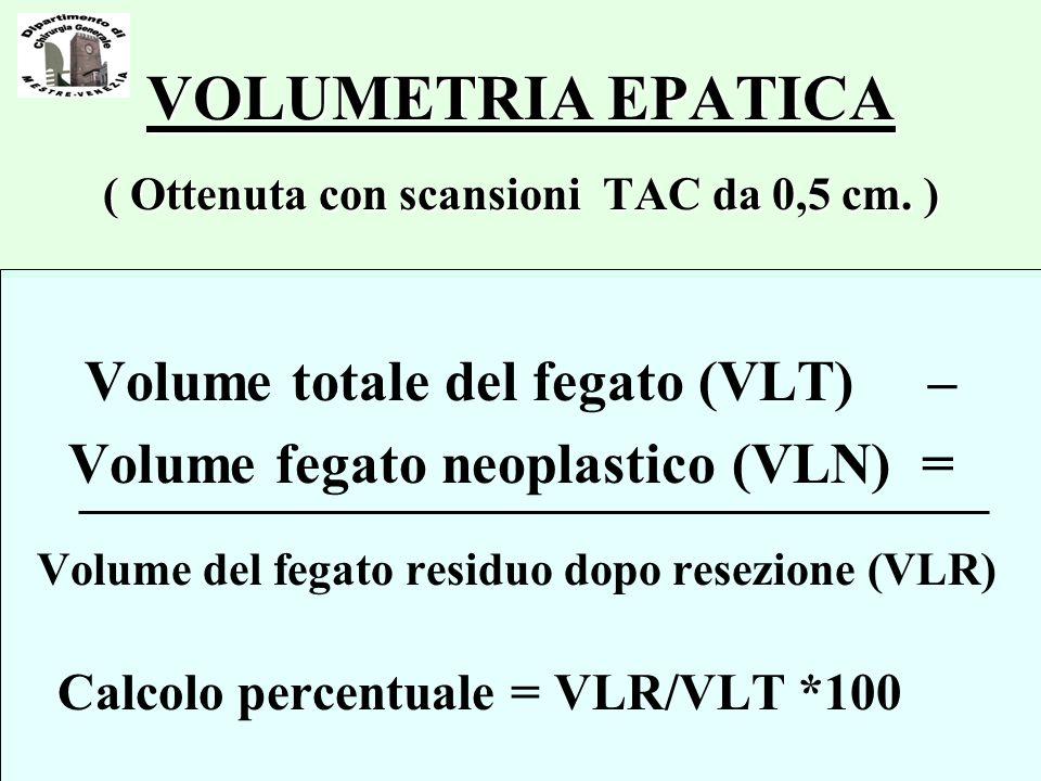 VOLUMETRIA EPATICA ( Ottenuta con scansioni TAC da 0,5 cm. )
