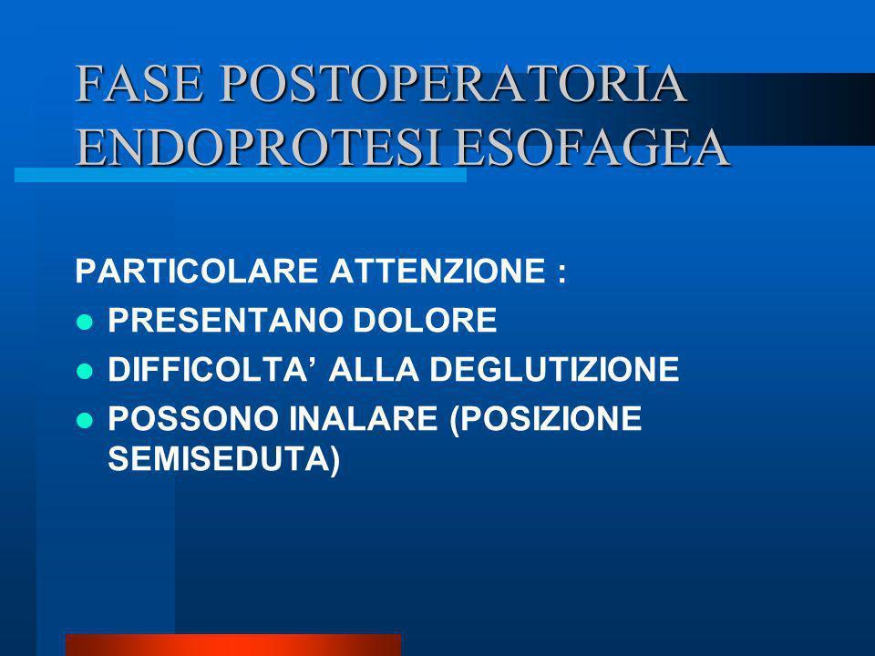 FASE POSTOPERATORIA ENDOPROTESI ESOFAGEA