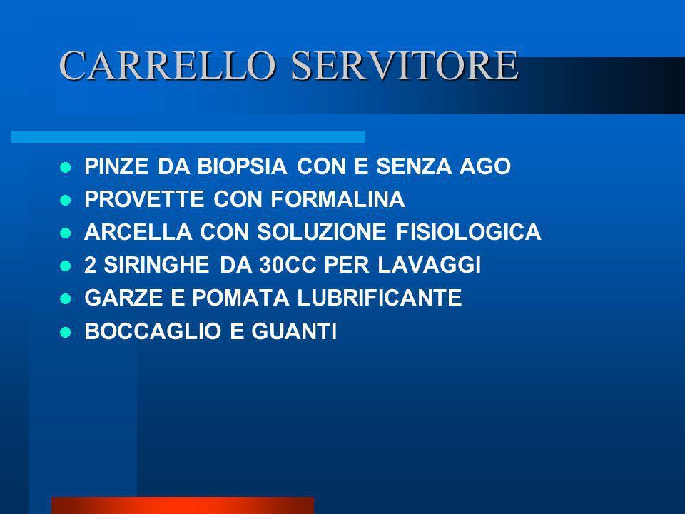 CARRELLO SERVITORE PINZE DA BIOPSIA CON E SENZA AGO