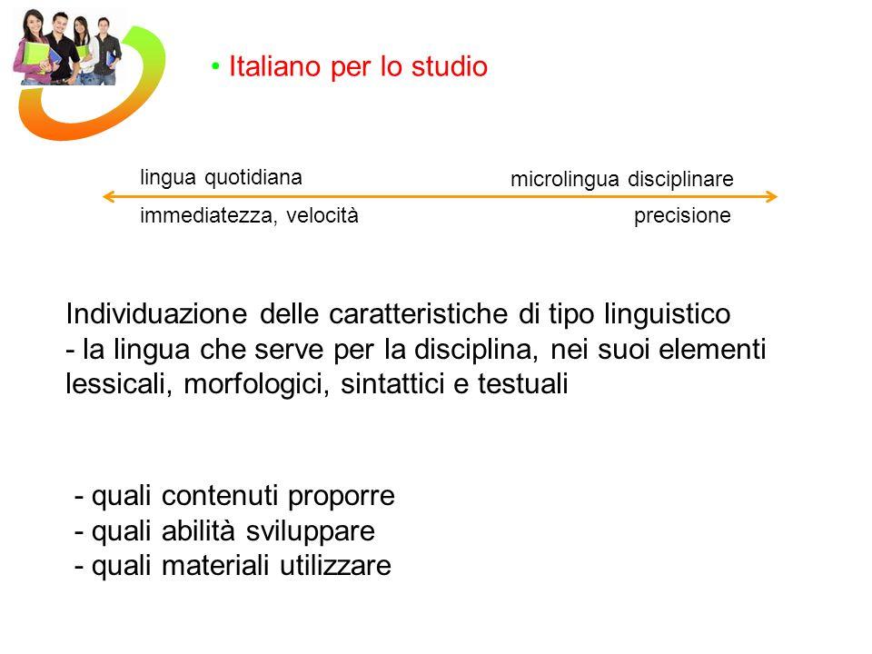 Individuazione delle caratteristiche di tipo linguistico
