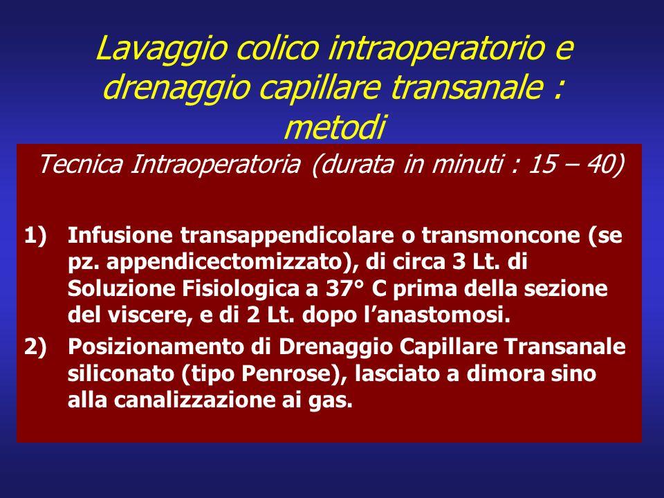 Tecnica Intraoperatoria (durata in minuti : 15 – 40)