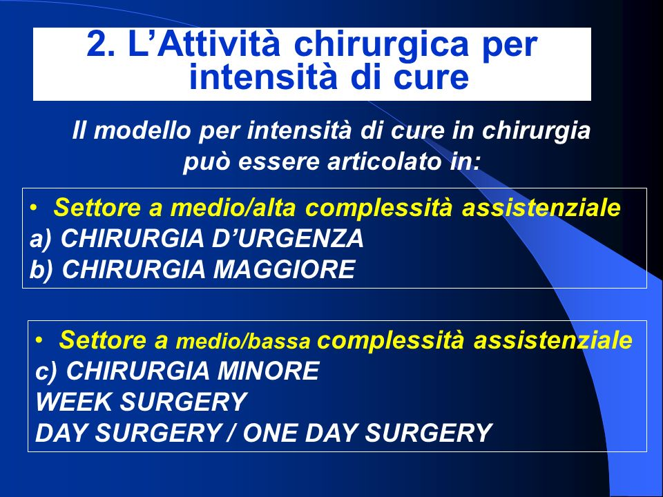 2. L'Attività chirurgica per intensità di cure