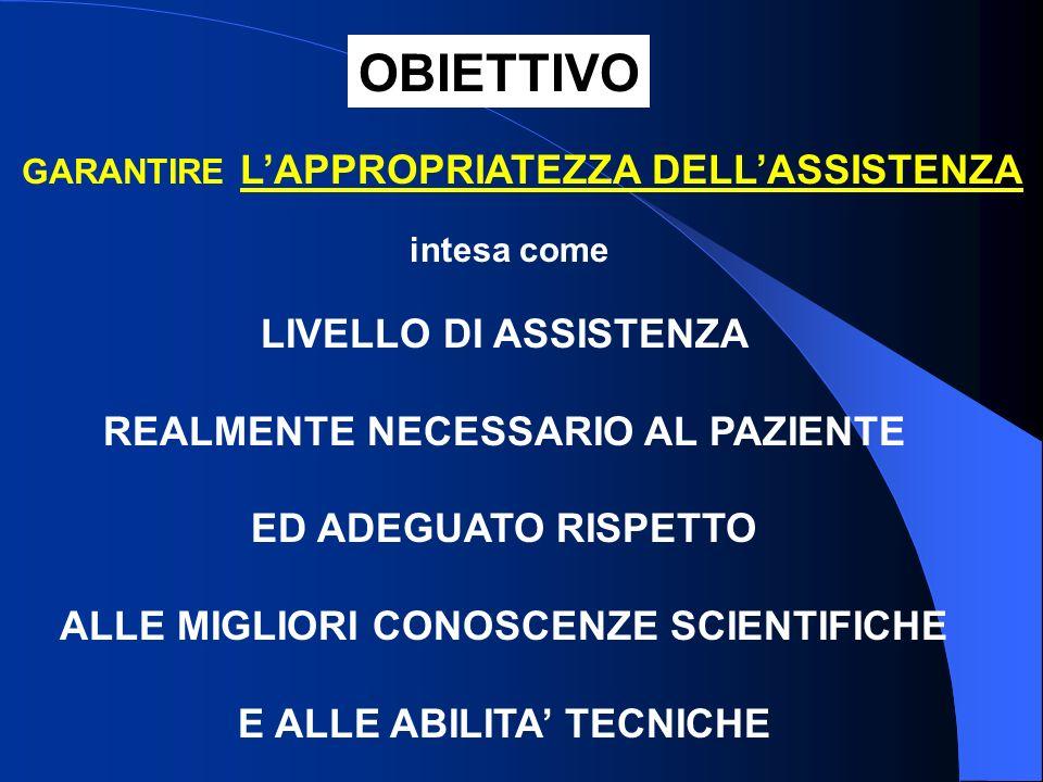 OBIETTIVO LIVELLO DI ASSISTENZA REALMENTE NECESSARIO AL PAZIENTE
