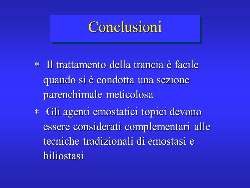 ConclusioniIl trattamento della trancia è facile quando si è condotta una sezione parenchimale meticolosa.