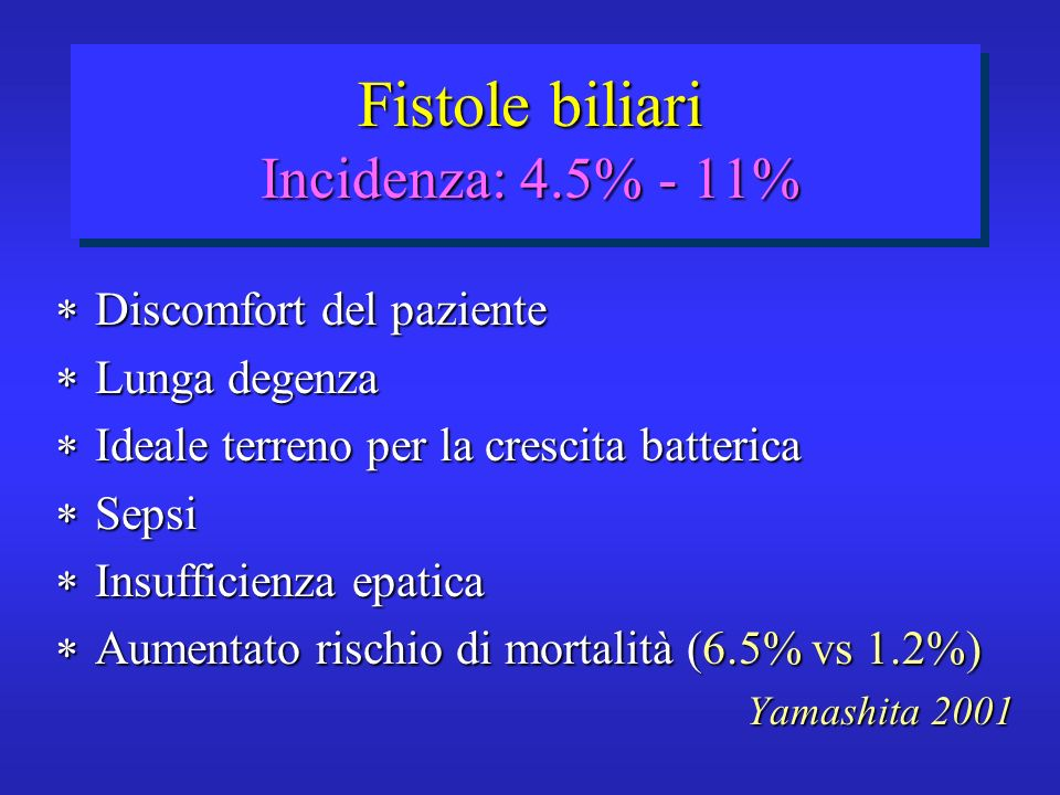 Fistole biliari Incidenza: 4.5% - 11%