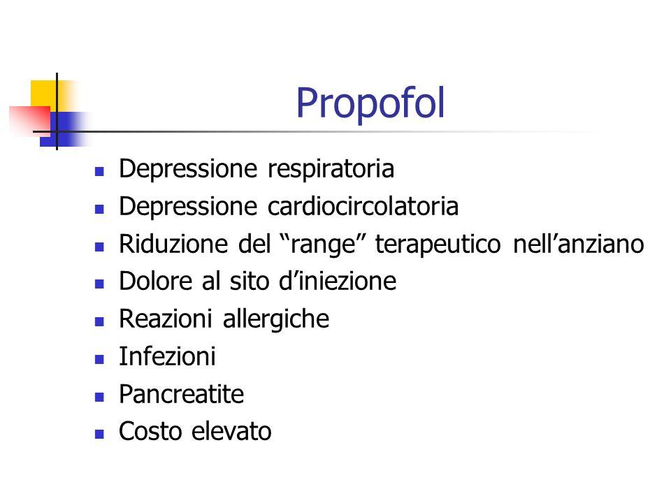 Propofol Depressione respiratoria Depressione cardiocircolatoria