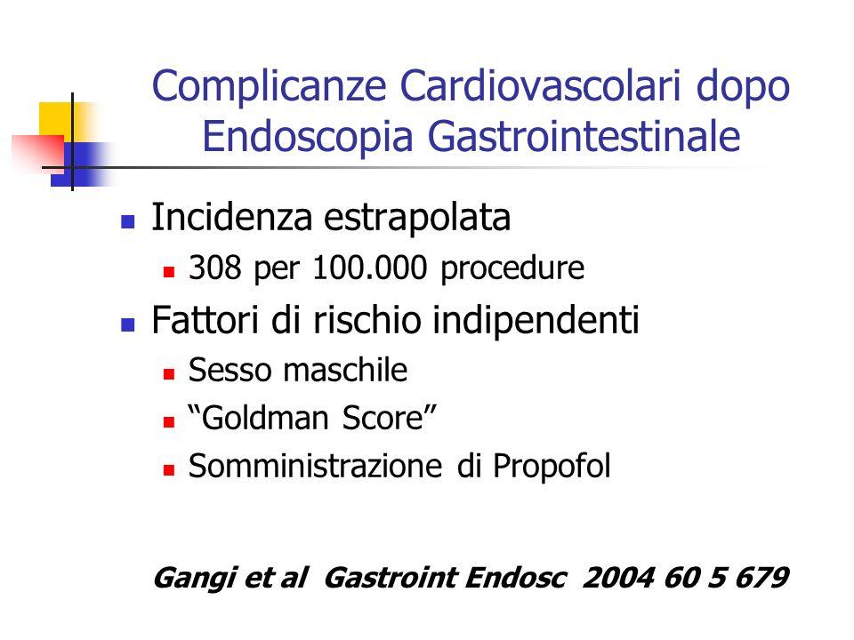 Complicanze Cardiovascolari dopo Endoscopia Gastrointestinale