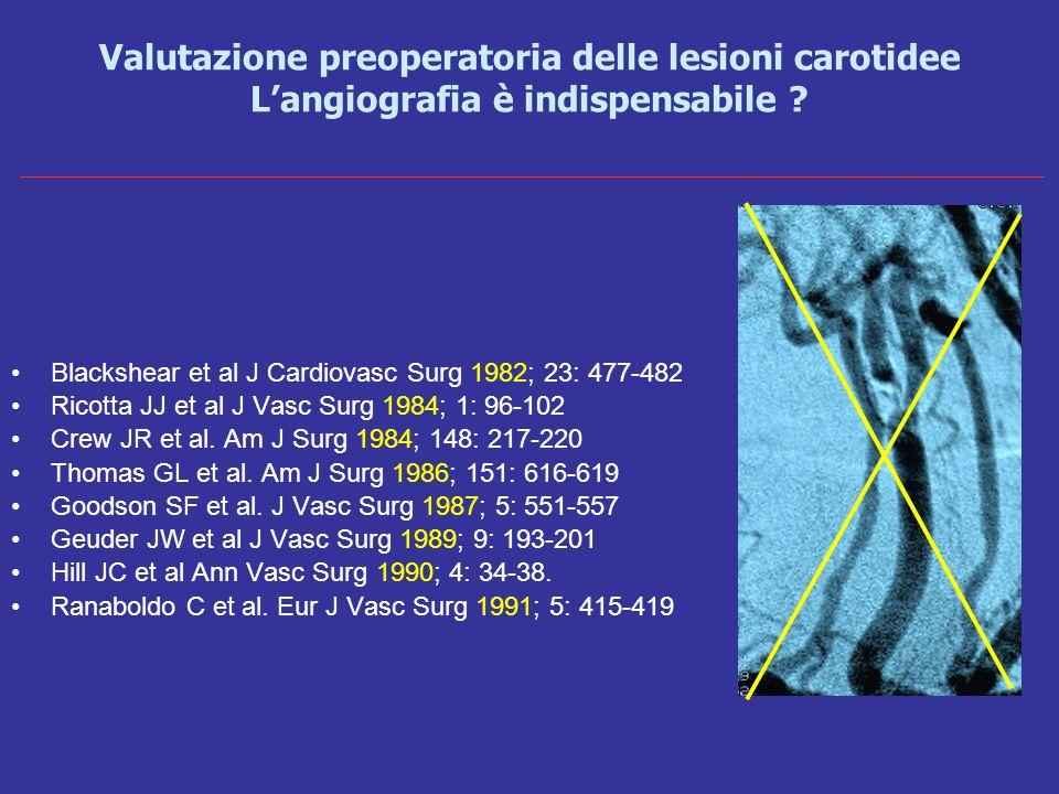 Valutazione preoperatoria delle lesioni carotidee L'angiografia è indispensabile