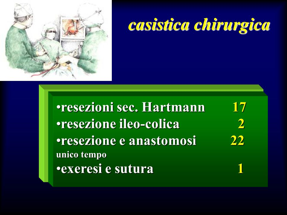 casistica chirurgica resezioni sec. Hartmann 17