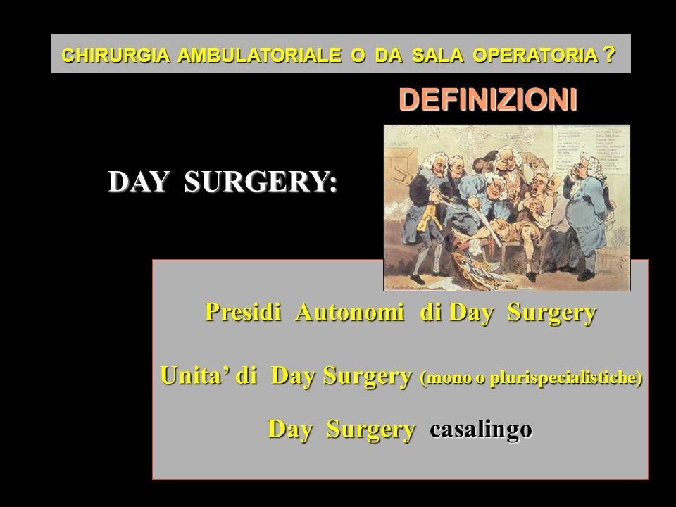 DEFINIZIONI DAY SURGERY: Presidi Autonomi di Day Surgery