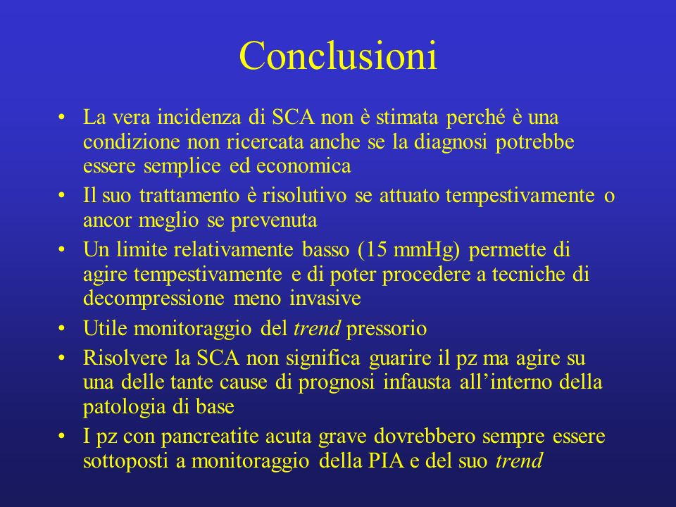 ConclusioniLa vera incidenza di SCA non è stimata perché è una condizione non ricercata anche se la diagnosi potrebbe essere semplice ed economica.