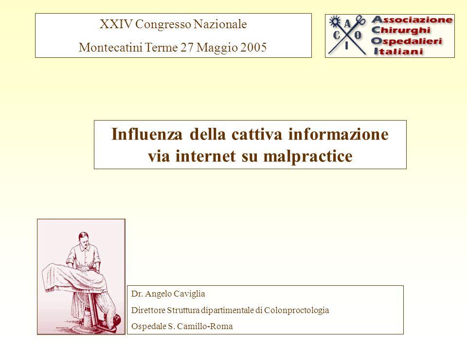 Influenza della cattiva informazione via internet su malpractice