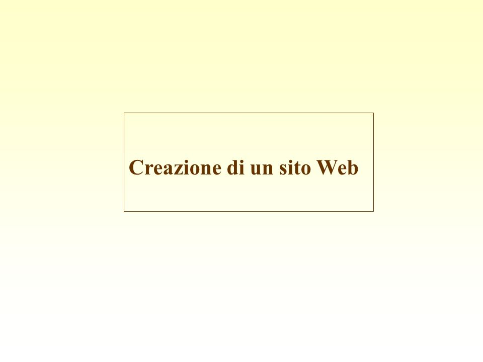 Creazione di un sito Web