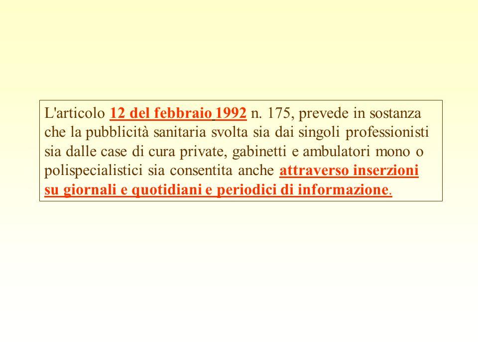L articolo 12 del febbraio 1992 n