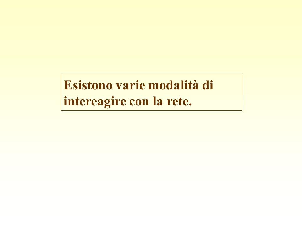 Esistono varie modalità di intereagire con la rete.