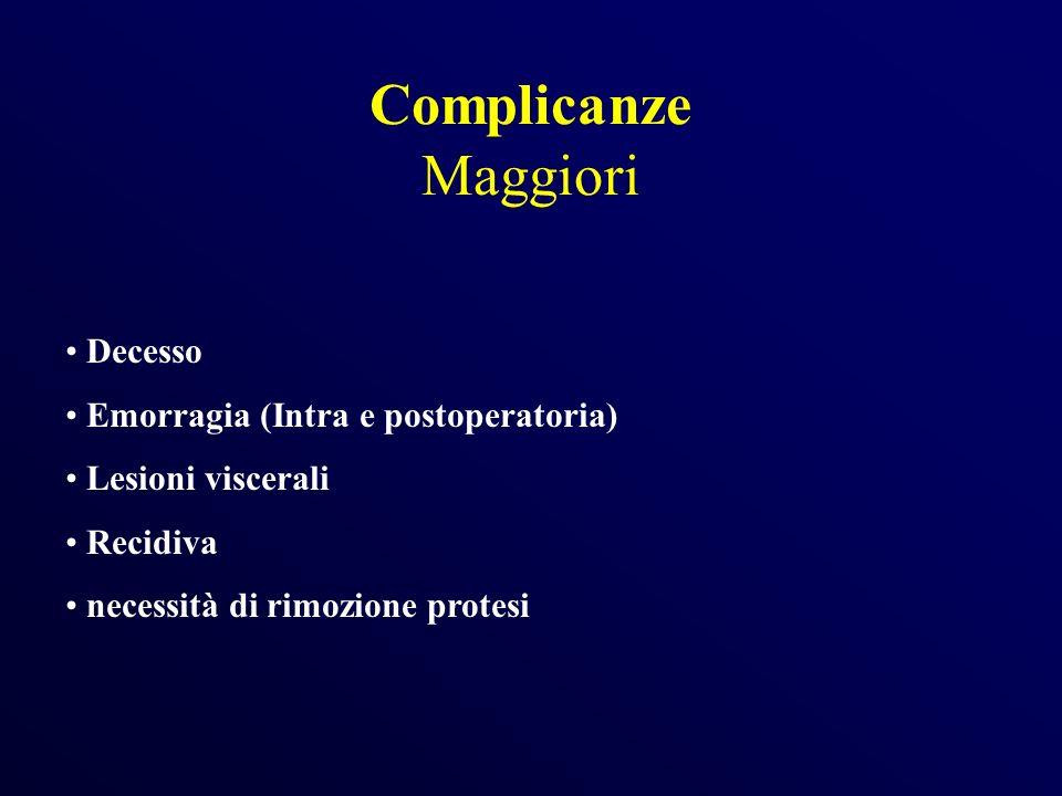 Complicanze Maggiori Decesso Emorragia (Intra e postoperatoria)