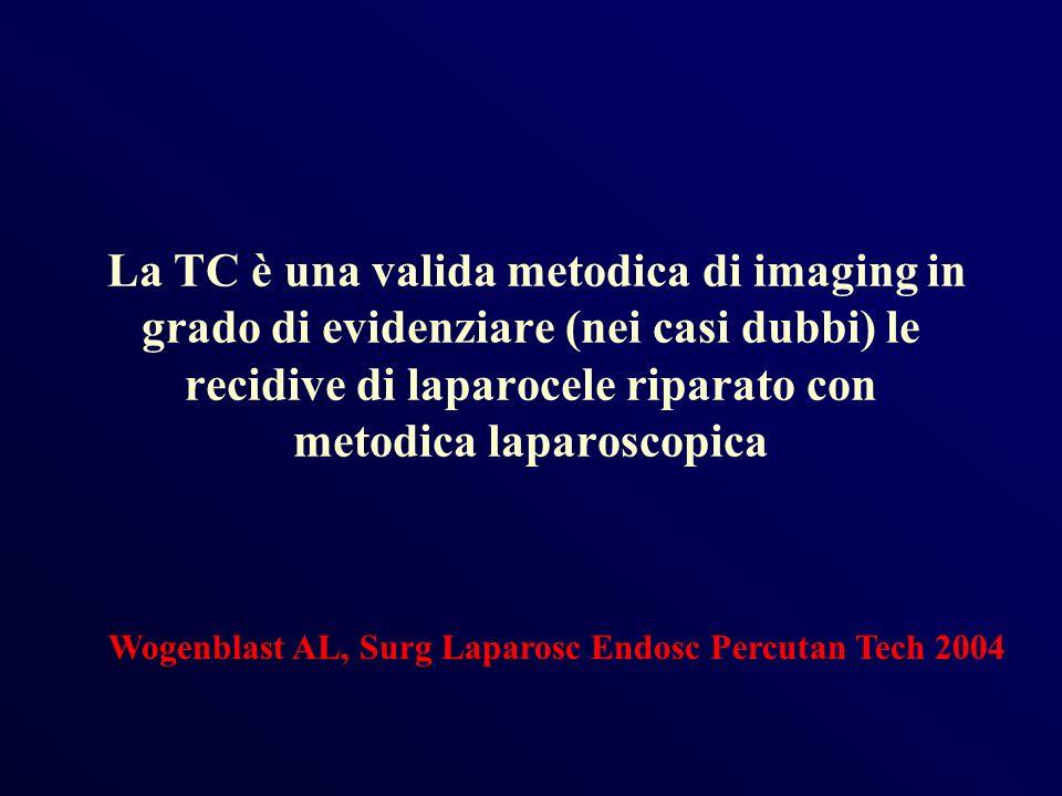 La TC è una valida metodica di imaging in grado di evidenziare (nei casi dubbi) le recidive di laparocele riparato con metodica laparoscopica