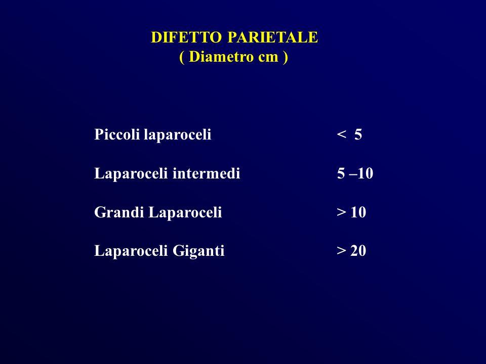 DIFETTO PARIETALE( Diametro cm ) Piccoli laparoceli < 5. Laparoceli intermedi 5 –10. Grandi Laparoceli > 10.