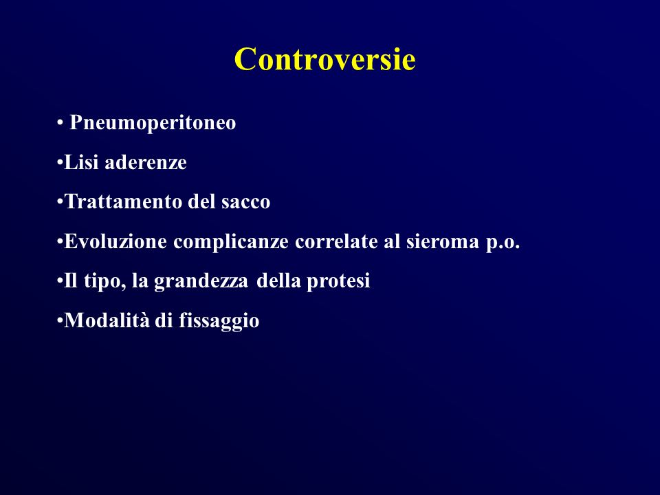 Controversie Pneumoperitoneo Lisi aderenze Trattamento del sacco