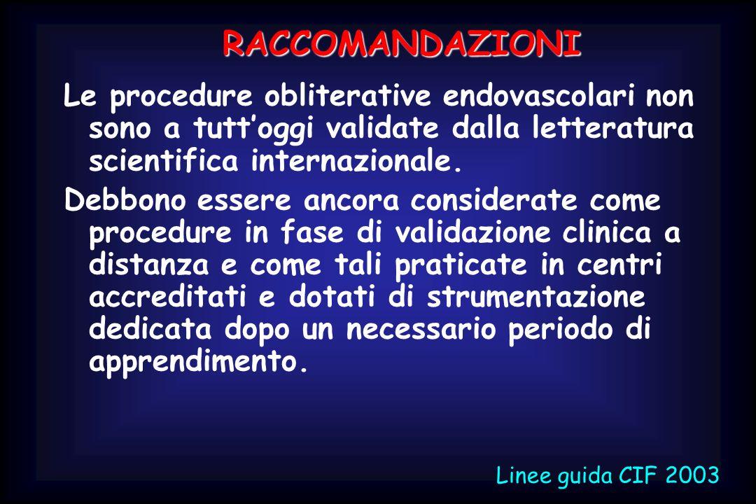 RACCOMANDAZIONI Le procedure obliterative endovascolari non sono a tutt'oggi validate dalla letteratura scientifica internazionale.