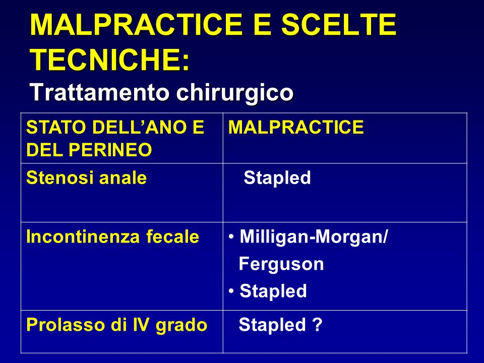 MALPRACTICE E SCELTE TECNICHE: Trattamento chirurgico