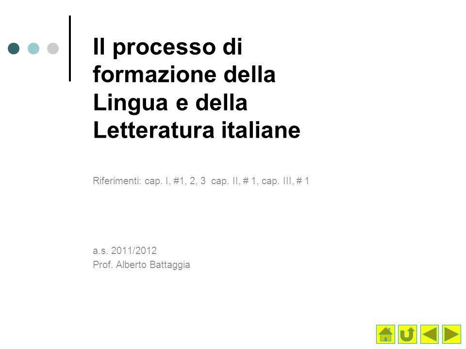 Il processo di formazione della Lingua e della Letteratura italiane
