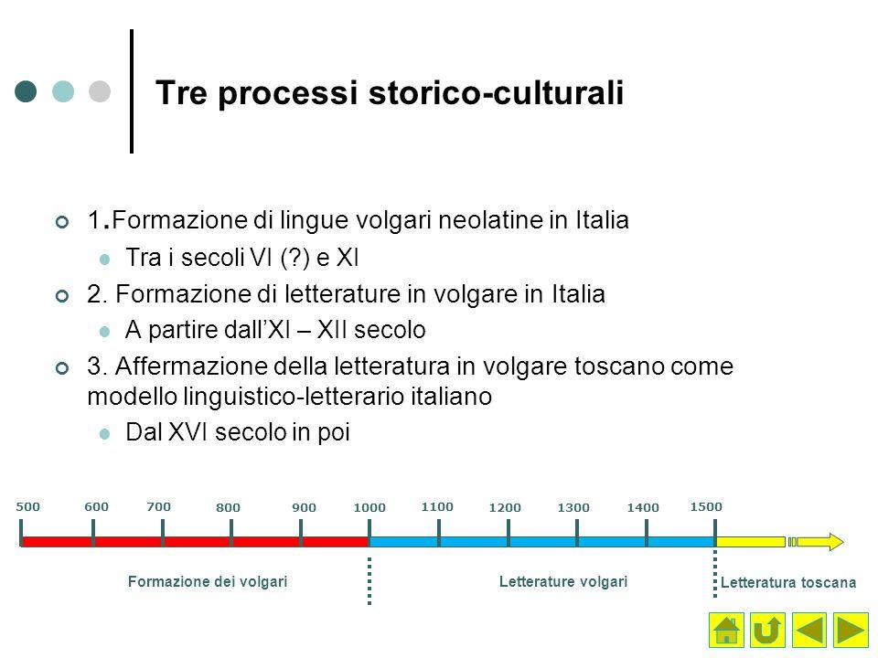 Tre processi storico-culturali