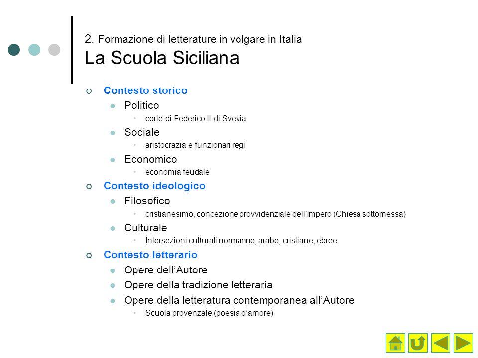 2. Formazione di letterature in volgare in Italia La Scuola Siciliana