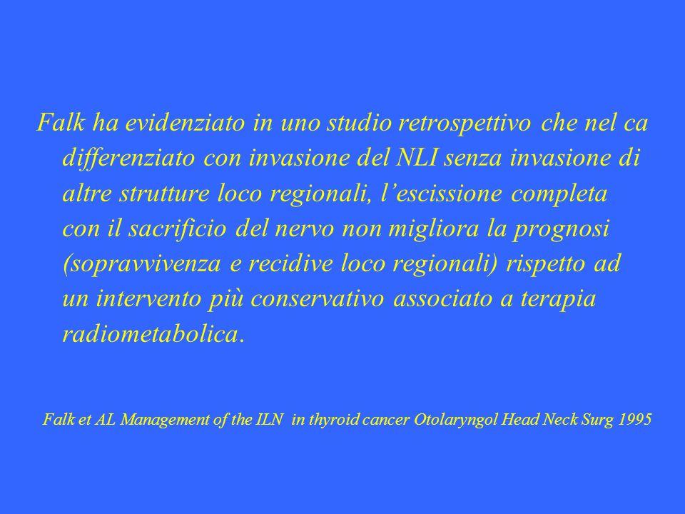 Falk ha evidenziato in uno studio retrospettivo che nel ca differenziato con invasione del NLI senza invasione di altre strutture loco regionali, l'escissione completa con il sacrificio del nervo non migliora la prognosi (sopravvivenza e recidive loco regionali) rispetto ad un intervento più conservativo associato a terapia radiometabolica.