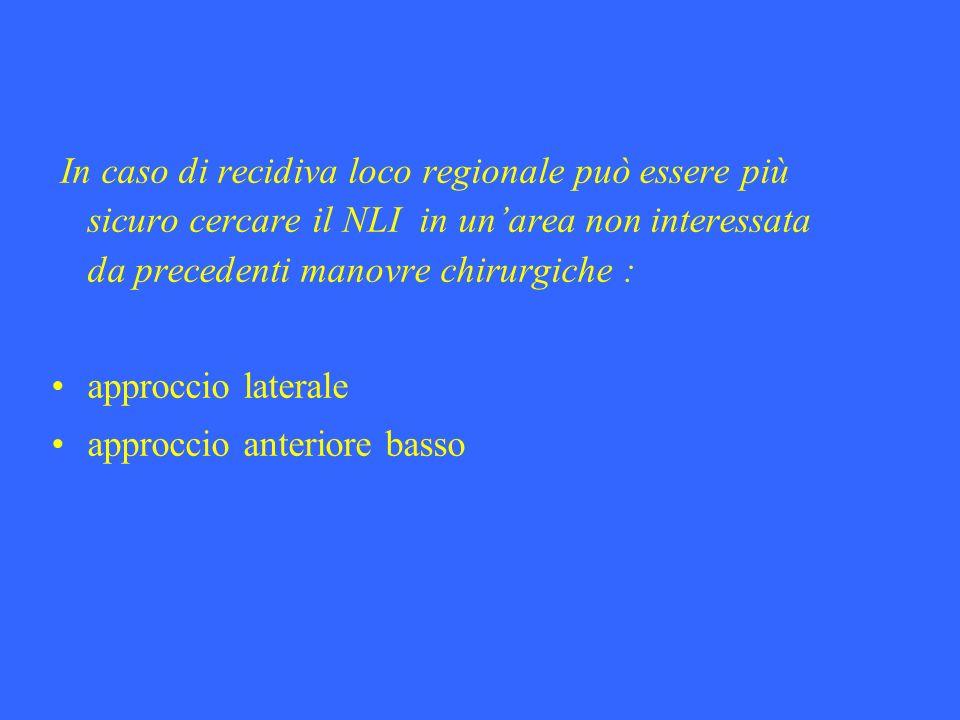 In caso di recidiva loco regionale può essere più sicuro cercare il NLI in un'area non interessata da precedenti manovre chirurgiche :