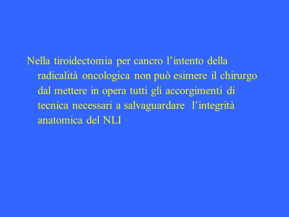 Nella tiroidectomia per cancro l'intento della radicalità oncologica non può esimere il chirurgo dal mettere in opera tutti gli accorgimenti di tecnica necessari a salvaguardare l'integrità anatomica del NLI