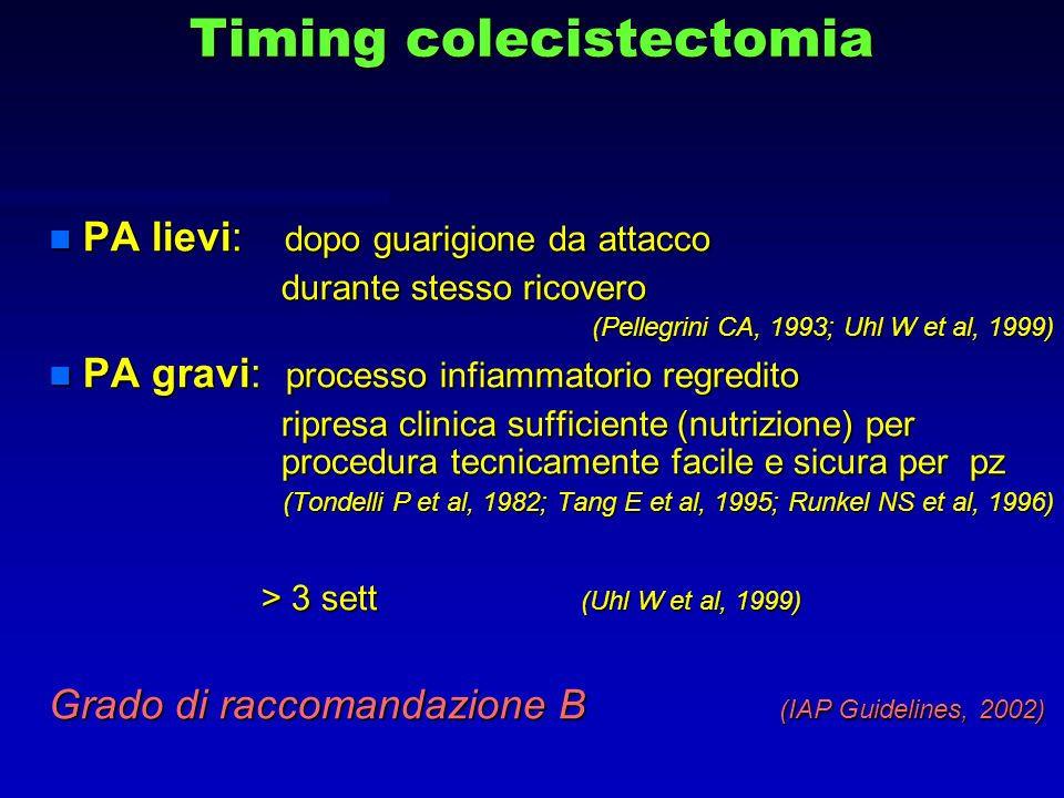 Timing colecistectomia