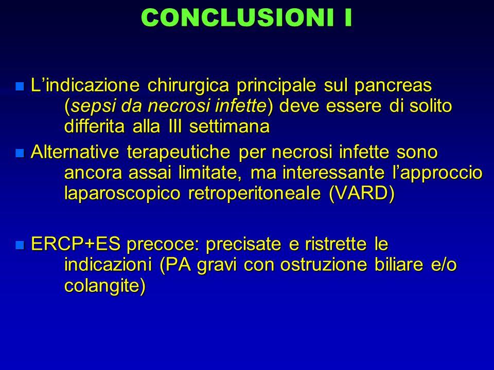 CONCLUSIONI I L'indicazione chirurgica principale sul pancreas (sepsi da necrosi infette) deve essere di solito differita alla III settimana.