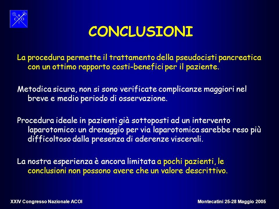 CONCLUSIONILa procedura permette il trattamento della pseudocisti pancreatica con un ottimo rapporto costi-benefici per il paziente.