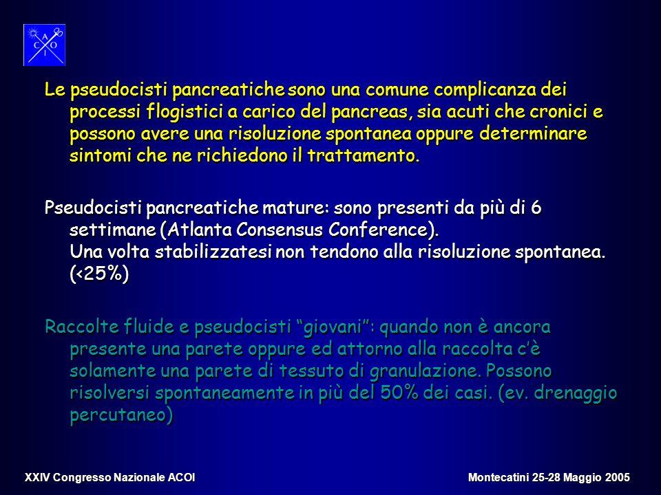 Le pseudocisti pancreatiche sono una comune complicanza dei processi flogistici a carico del pancreas, sia acuti che cronici e possono avere una risoluzione spontanea oppure determinare sintomi che ne richiedono il trattamento.