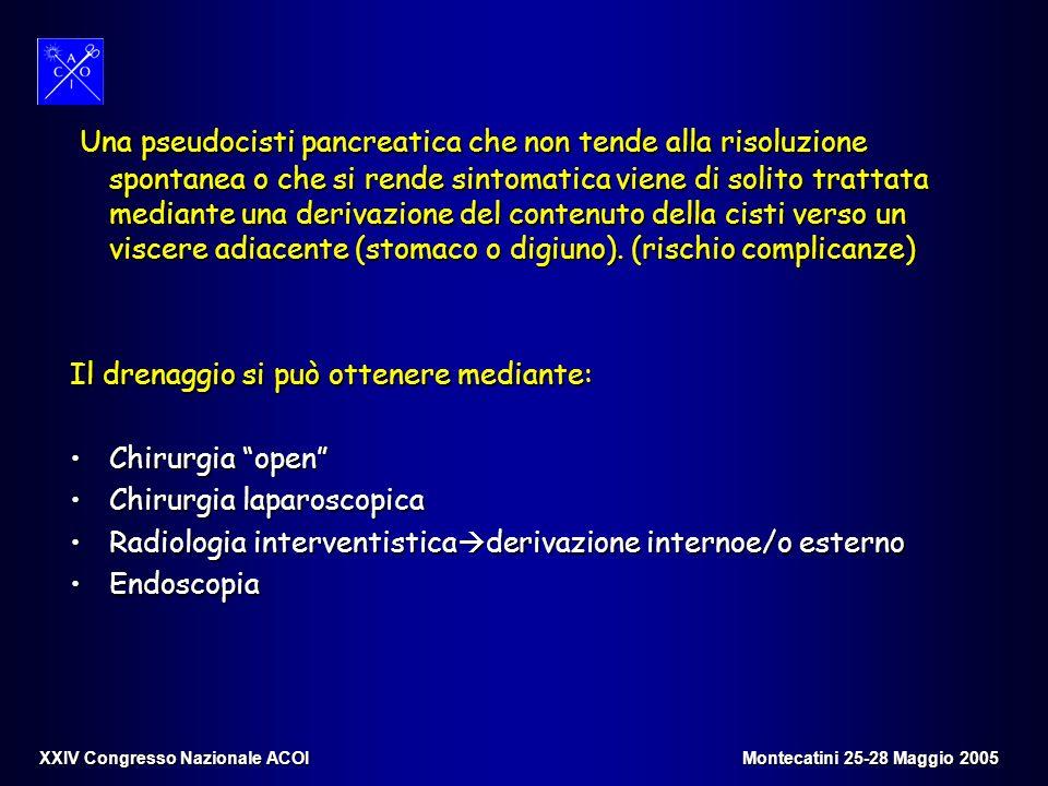 Una pseudocisti pancreatica che non tende alla risoluzione spontanea o che si rende sintomatica viene di solito trattata mediante una derivazione del contenuto della cisti verso un viscere adiacente (stomaco o digiuno). (rischio complicanze)