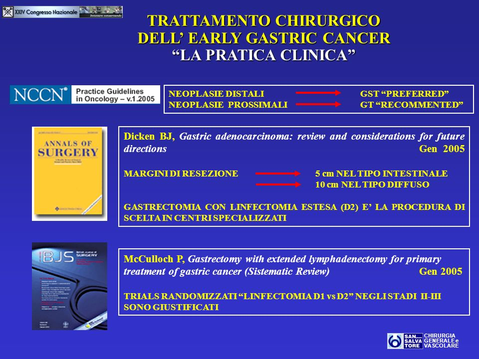 TRATTAMENTO CHIRURGICO DELL' EARLY GASTRIC CANCER