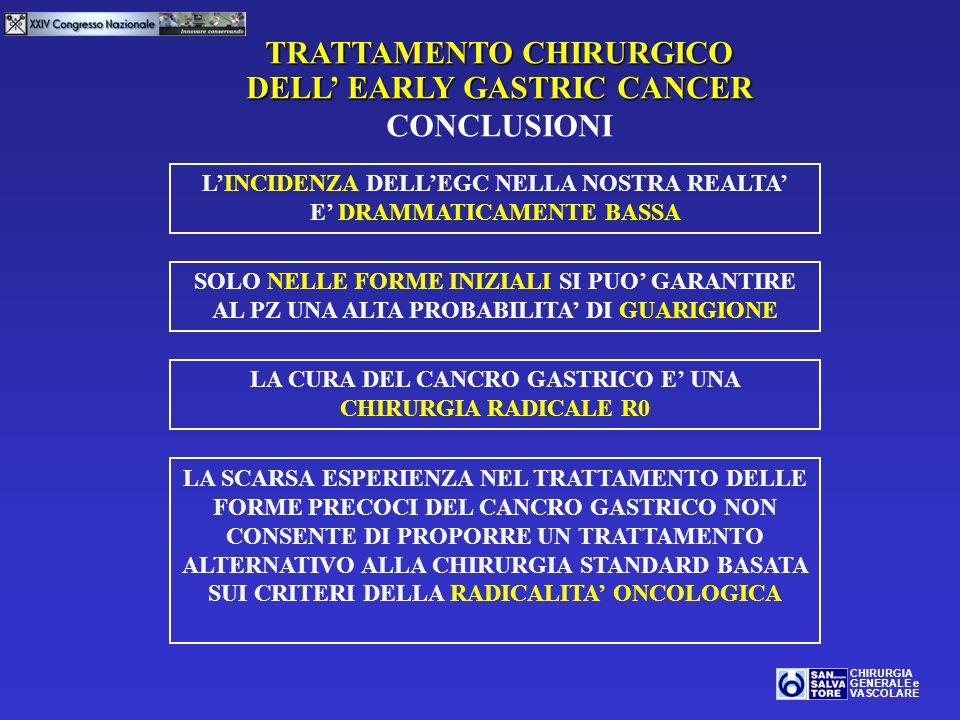 TRATTAMENTO CHIRURGICO DELL' EARLY GASTRIC CANCER CONCLUSIONI