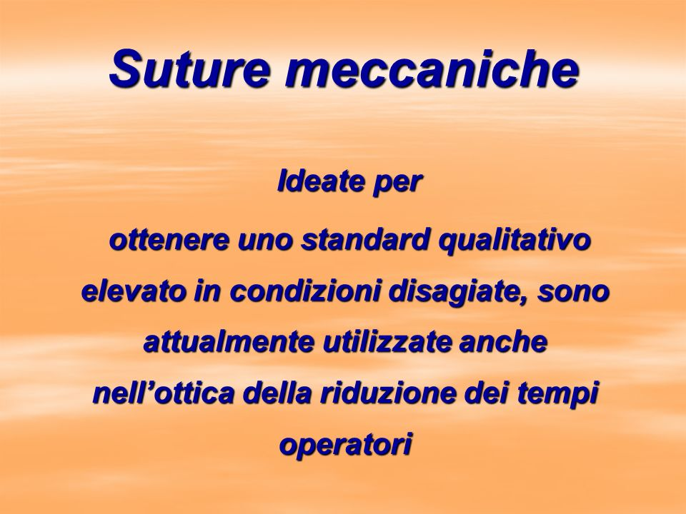 Suture meccaniche Ideate per