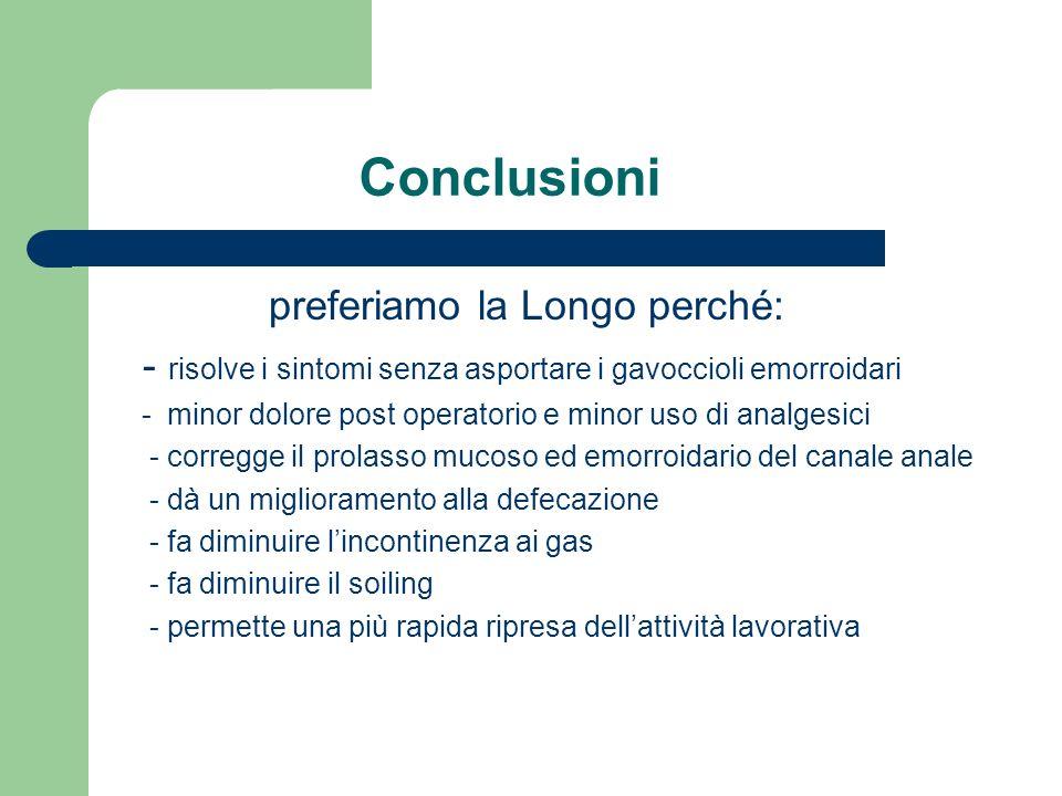 Conclusioni preferiamo la Longo perché: