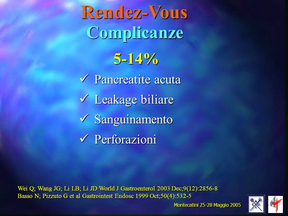 Rendez-Vous Complicanze 5-14% Pancreatite acuta Leakage biliare