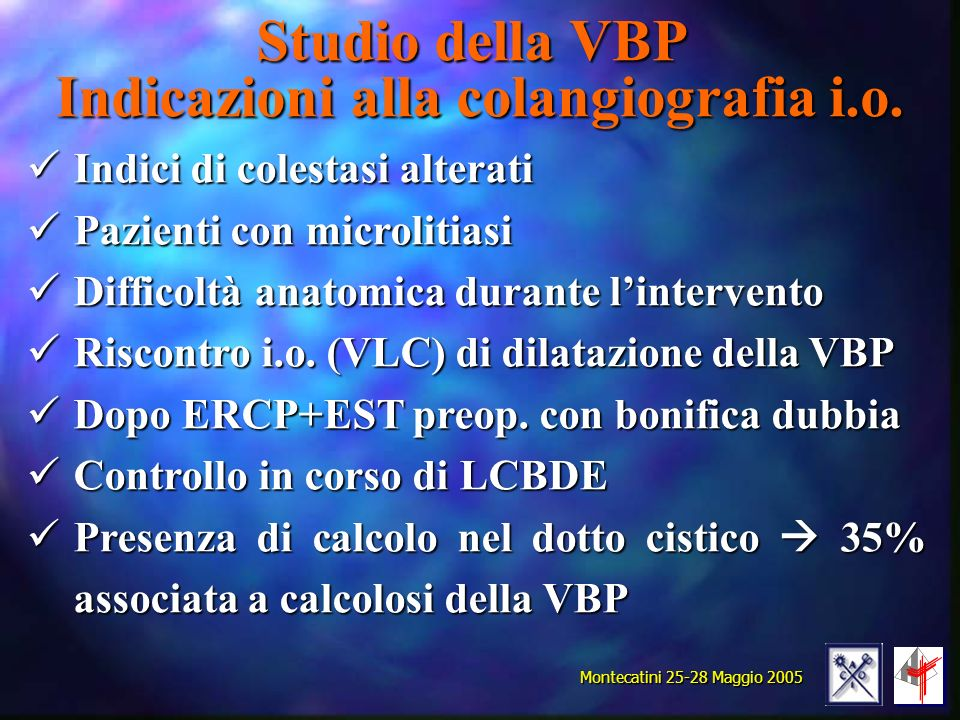 Studio della VBP Indicazioni alla colangiografia i.o.