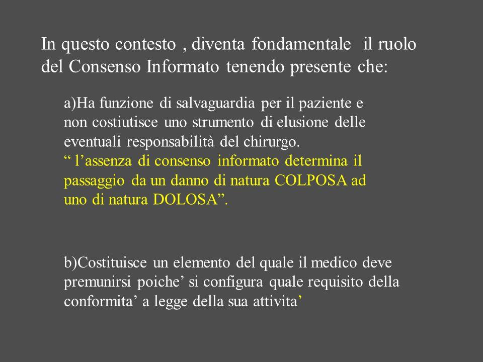 In questo contesto , diventa fondamentale il ruolo del Consenso Informato tenendo presente che: