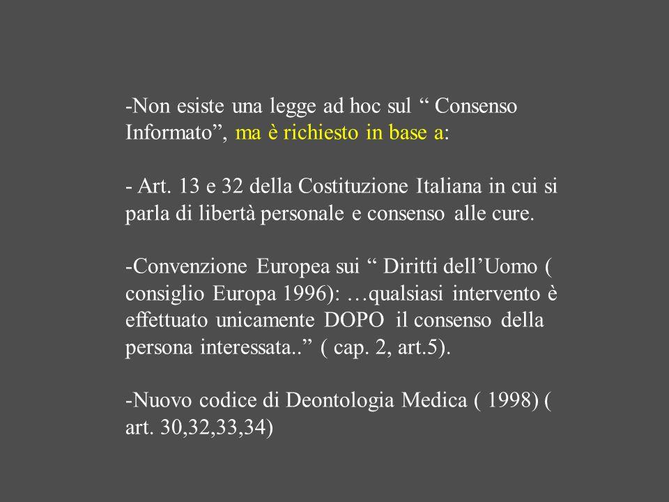 -Non esiste una legge ad hoc sul Consenso Informato , ma è richiesto in base a: