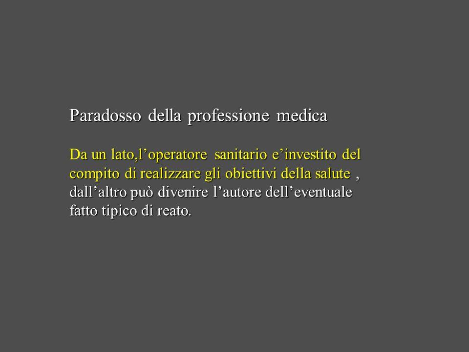 Paradosso della professione medica Da un lato,l'operatore sanitario e'investito del compito di realizzare gli obiettivi della salute , dall'altro può divenire l'autore dell'eventuale fatto tipico di reato.