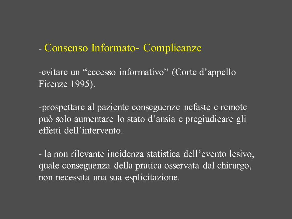 - Consenso Informato- Complicanze