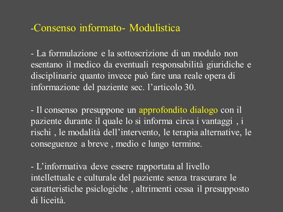 -Consenso informato- Modulistica