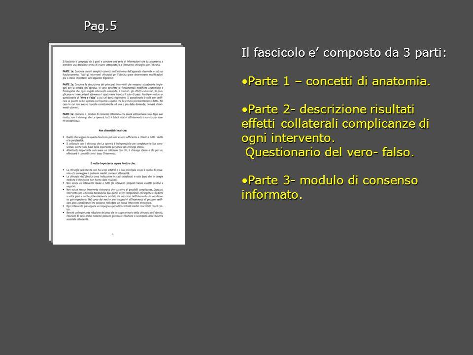 Pag.5 Il fascicolo e' composto da 3 parti: Parte 1 – concetti di anatomia.